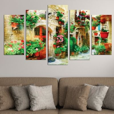 Canvas art set vintage landscape of Italy