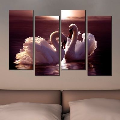 0553  Wall art decoration (set of 4 pieces) Couple swans in love