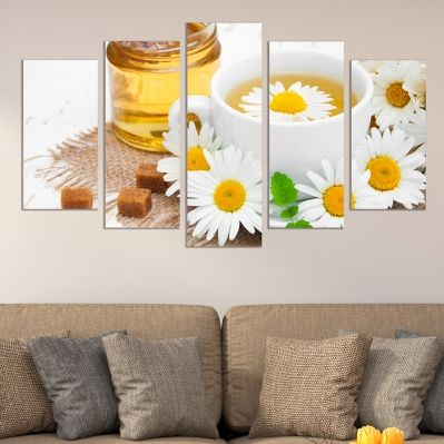 0555 Wall art decoration (set of 5 pieces)  Chamomile tea