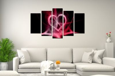Abstract wall art in black and pink