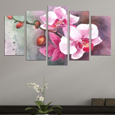 0564 Wall art decoration (set of 5 pieces) Art orchids