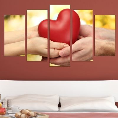 0567 Wall art decoration (set of 5 pieces) Love