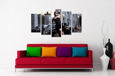Vintage style fashion canvas art with woman and car
