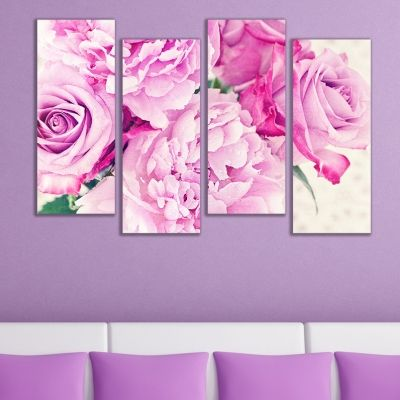 0575  Wall art decoration (set of 4 pieces) Vintage bouquet