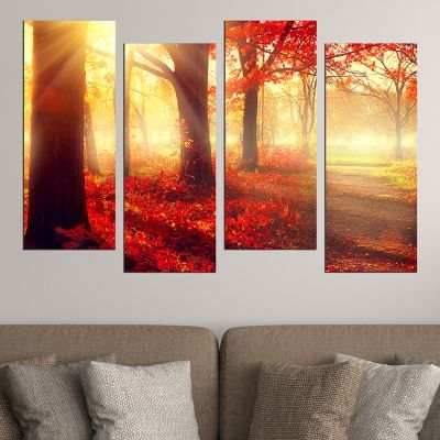 0584  Wall art decoration (set of 4 pieces) Autumn fairy tale