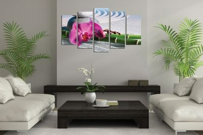 Zen canvas art composition with sand bamboo orchid and stones