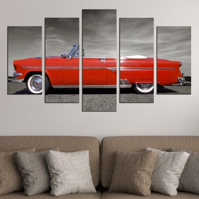 0587 Wall art decoration (set of 5 pieces) Red retro car