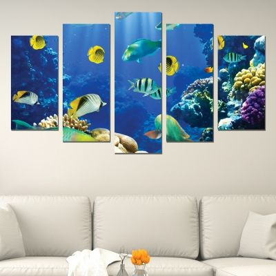 0588 Wall art decoration (set of 5 pieces) Sea bottom