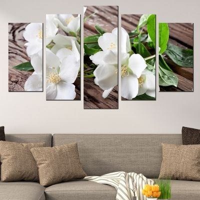 0589 Wall art decoration (set of 5 pieces) Jasmine flowers