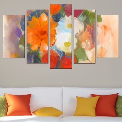 0592 Wall art decoration (set of 5 pieces) Abstract flowers