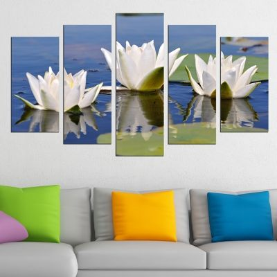 0597 Wall art decoration (set of 5 pieces) Water lillies