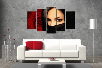 canvas art with mysterious woman and red rose