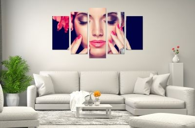 canvas art with girl with perfect makeup