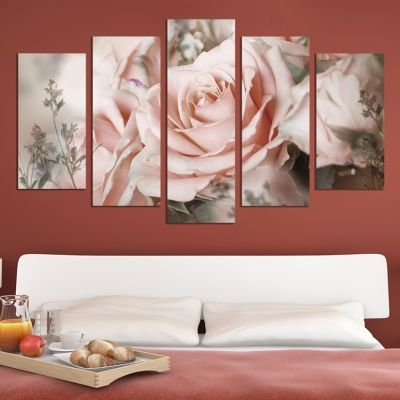 0605 Wall art decoration (set of 5 pieces) Vintage rose