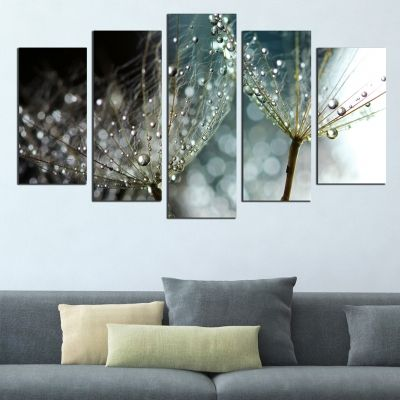 0608 Wall art decoration (set of 5 pieces) Dandelions