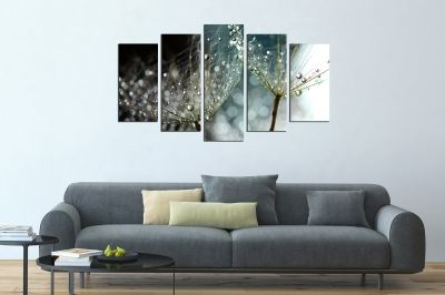 canvas wall art in grey with dandelions