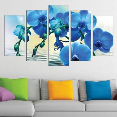 0611 Wall art decoration (set of 5 pieces) Blue orchids