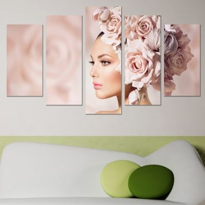 0613 Wall art decoration (set of 5 pieces) Gentle beauty
