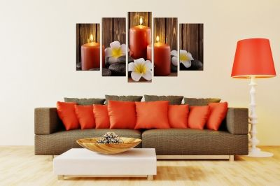 Zen canvas art composition with orchids and stones brown background and orange