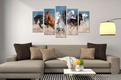 canvas wall art set Landscape with 7 wild horses