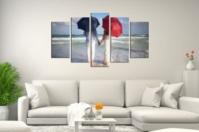 art canvas decoration set with couple in love on the beach
