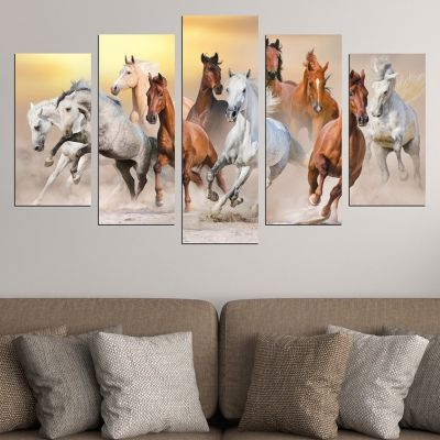 0623 Wall art decoration (set of 5 pieces) Wild horses