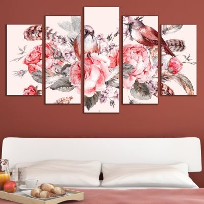 Canvas art set beautiful Vintage composition with roses and birds