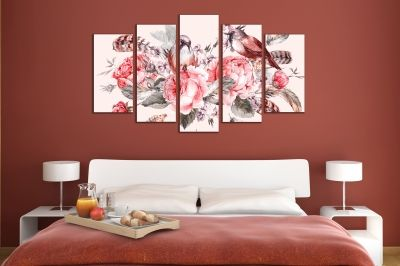 Canvas art Vintage roses and birds composition