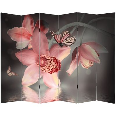 Canvas Room devider Orchids and butterflies