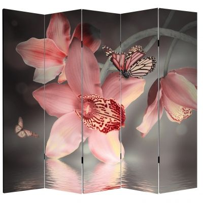 P0612 Decorative Screen Room divider Orchids and butterflies (3,4,5 or 6 panels)