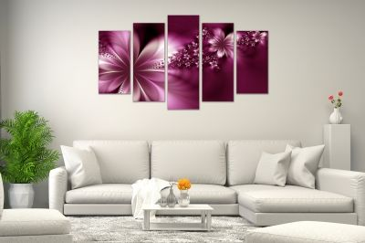 Canvas art flowers abstract purple