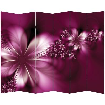 Canvas Room devider Abstract flowers in purple