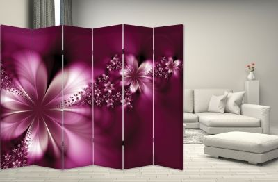 Canvas Room devider with print White orchids on grey background