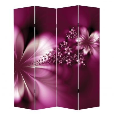 P0627 Decorative Screen Room divider Abstract flowers in purple (3,4,5 or 6 panels)