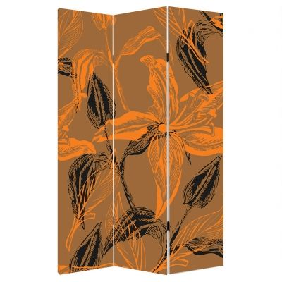 Decorative Room divider Abstract flowers in orange and brown