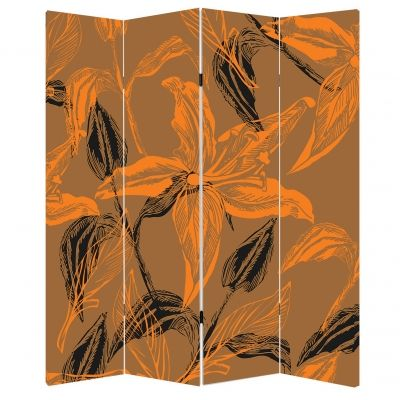 Screen for room Abstract flowers  in orange and brown