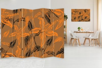 Canvas Room divider with print Flowers in orange and brown