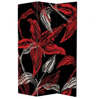 P0133_2 Decorative Screen Room divider Abstract flowers in red and black (3,4,5 or 6 panels)