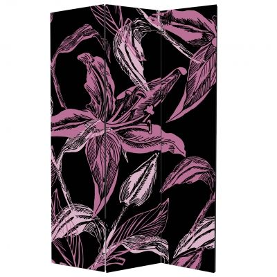 P0133_3 Decorative Screen Room divider Abstract flowers in purple and black (3,4,5 or 6 panels)