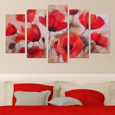 0607 Wall art decoration (set of 5 pieces) Red poppies
