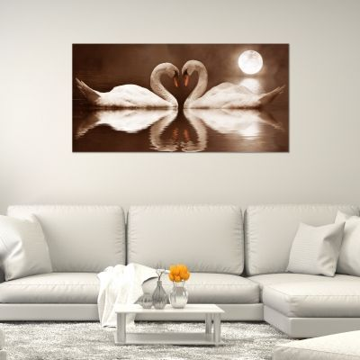 Wall art canvas decoration Swans in brown background