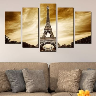 0398 Wall art decoration (set of 5 pieces) Paris