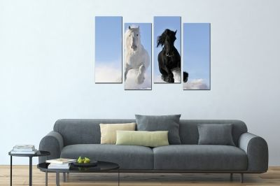 canvas wall art set 4 pieces black and white horse