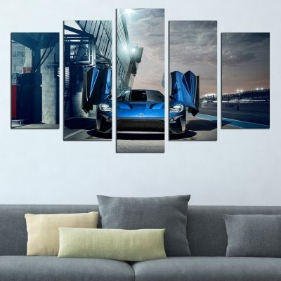 0634 Wall art decoration (set of 5 pieces) Blue car
