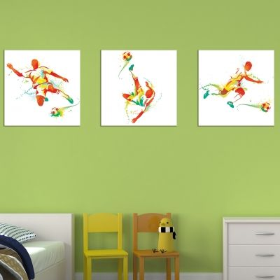 0635Wall art decoration (set of 3 pieces) Football