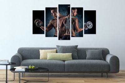 Fitness man and woman canvas art set of 5 pieces
