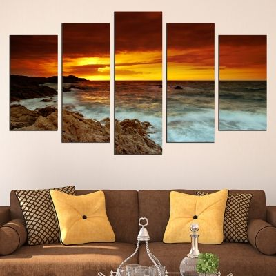 0638 Wall art decoration (set of 5 pieces)  Beautiful sea sunset