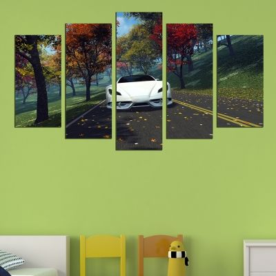 0643 Wall art decoration (set of 5 pieces) Landscape with white car