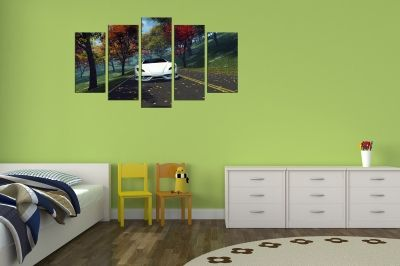 Art canvas decoration for wall with landscape with white car
