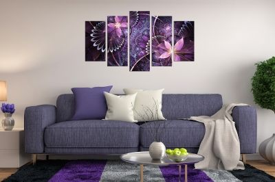 Canvas art flowers purple abstract